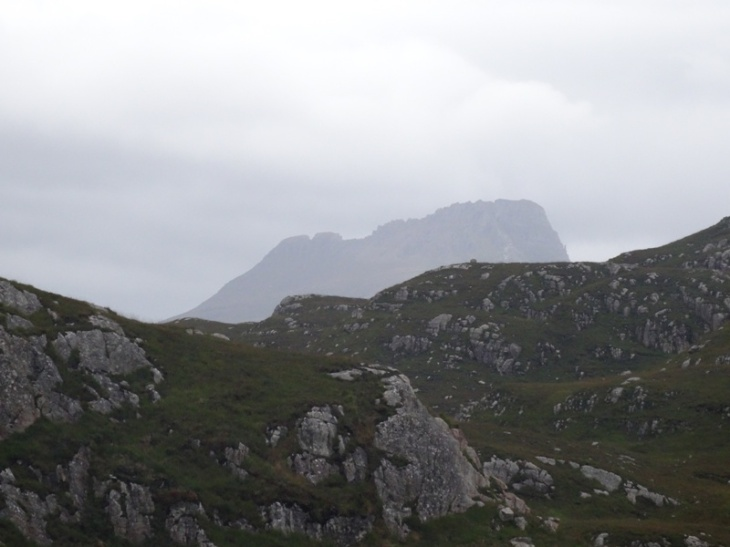 A (zoomed) view of Stac Pollaidh. I think I got to that lower flat bit towards the left of the middle (but am not sure because I couldn't really see anything!)