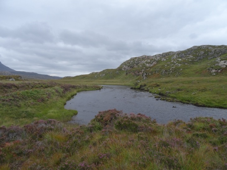 Kirkaig River where it exits Fionn Loch. I was thinking about trying to cross here . . . glad I changed my mind!