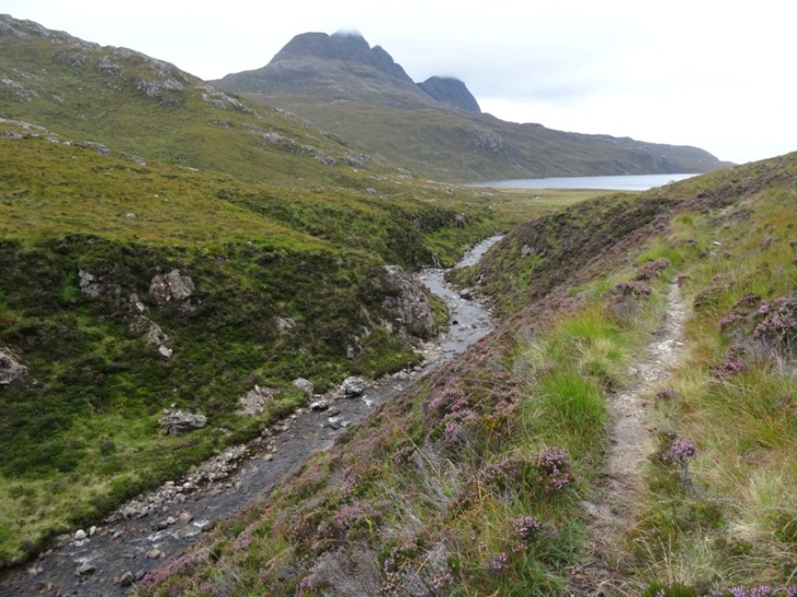 A more modest (but still lovely) path along Allt a Ghlinne Dhorcha, looking back at Loch na Gainimh and Suilven
