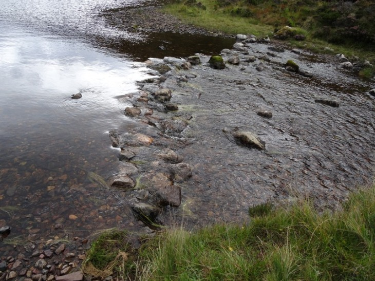 The stepping stone crossing where Allt a Ghlinne Dhorcha joings Lochan Fada. Safely negotiated with dry feet!