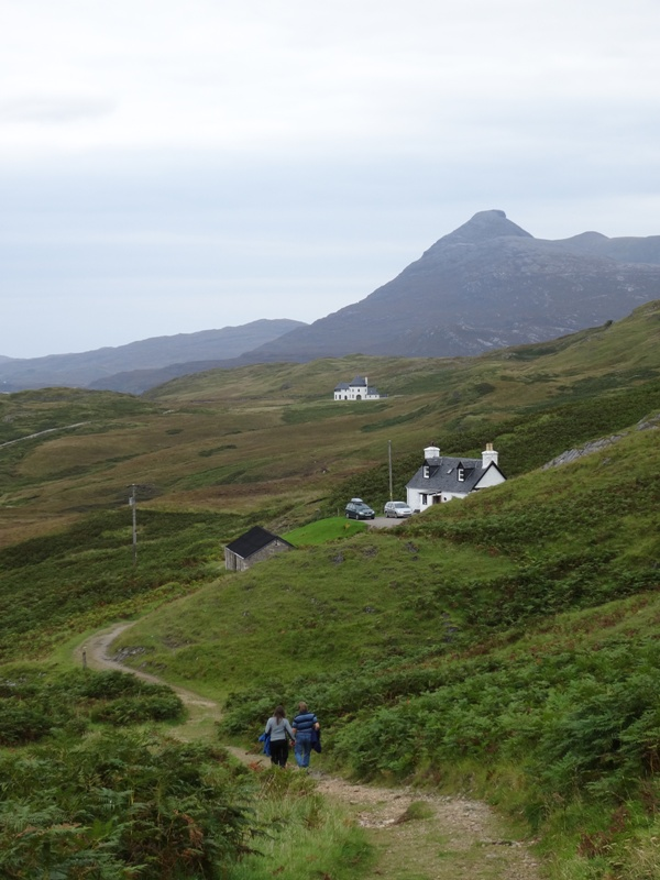 Following two people (who looked a bit like my parents in the 70s) down a good track towards Inchnadamph. See the new house (distance) with turrets, and Quinag in the background.