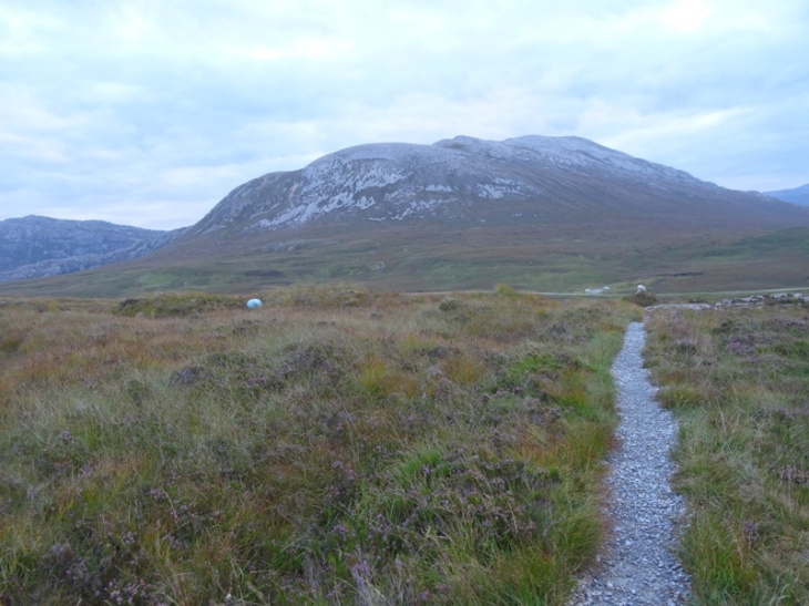My pack (the white dot on the left), a good path, carpark in the distance and Glas Bheinn in the background.