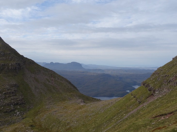 The hillside I scrambled around on the right (across the scree and probably just below that lower dark patch). Spidean Conich looking fairly unassailable although you can just see the path snaking up the far edge. Suilven in the background.