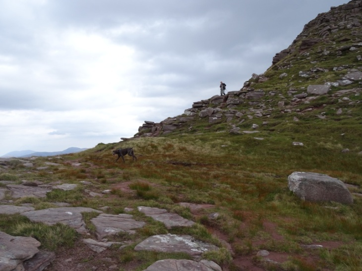Man and his dog coming off the middle lump up to Spidean Conich.