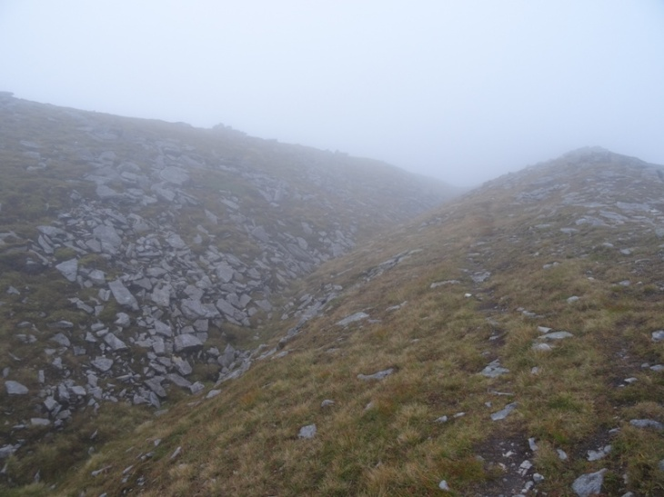 The dual ridge on Ben Stack (summit shelter just visible on the far ridge)