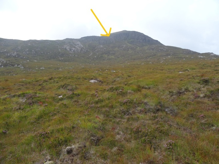 I was aiming for the scree section where the arrow is. Much steeper than it looks!!