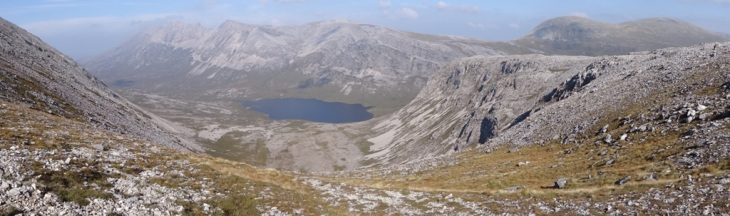 Looking down An Carbh Coire from the col. A beautiful view of Foinaven showing the gneiss/quartzite contact.