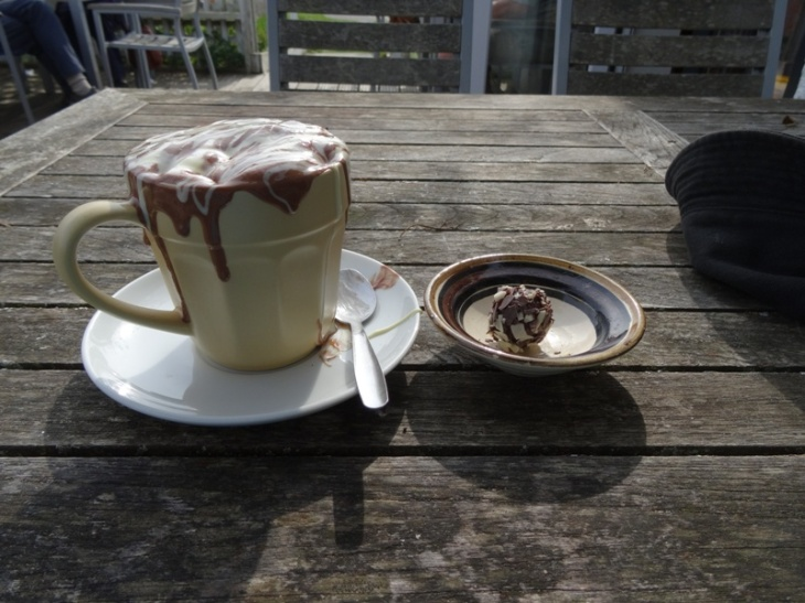 Sugar overload! Hot chocolate and chocolate truffle at Cocoa Mountain.